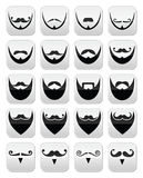 Beard with moustache or mustache  icons set Stock Photo