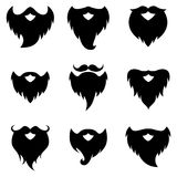 Beard and moustache silhouettes vector illustration