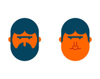 With beard and no beard. before and after. Brutal hipster and ch. Ildren face Stock Photo