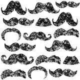 Beard pattern. Seamless black and white scribbled funny beards pattern Royalty Free Stock Photo