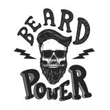 Beard power. Human skull with beard in sun glasses. T-shirt prin Stock Image
