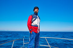 Beard sailor cap man sailing sea ocean in a boat Royalty Free Stock Photos