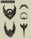 Beard Set doodle vector. Vector art illustration, background or print Stock Image
