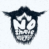 Beard silhouette with No Shave November lettering print Stock Photo