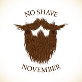 Beard silhouette with No Shave November lettering print Stock Photos