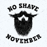 Beard silhouette with No Shave November lettering print Royalty Free Stock Photography
