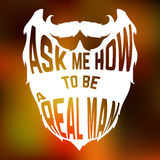 Beard Silhouette with text inside ask me how to be Stock Images