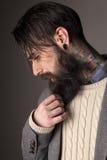 Beard and tatoos. Young man with long beard and tatoos posing in the studio Stock Image