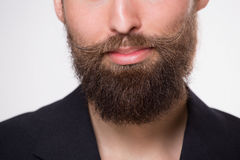 Beard. Young man with beard smiling on white royalty free stock images