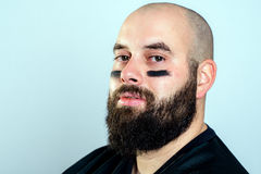 Bearded american football player Royalty Free Stock Photo