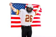 Bearded American football player with national flag, portrait. royalty free stock photography