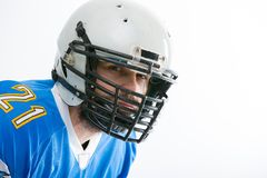 Bearded American football player, portrait. stock photos