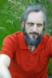 Bearded angry man sitting in a green background on sunny day, potrait Stock Photo