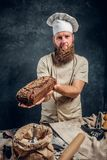 A bearded baker wearing a uniform showing fresh bread standing next to a table, decorated with delicious bread loaves. Baguettes in a dark studio. Vertical royalty free stock photography
