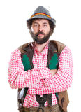 Bearded bavarian man with pipe Stock Photography