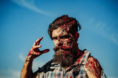 Bearded bloody zombie man Royalty Free Stock Image