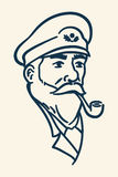 Bearded boat captain smoking pipe illustration Royalty Free Stock Photos