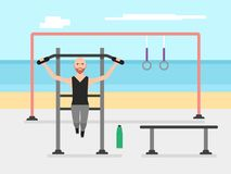 Bearded bodybuilder man doing pull ups on horizontal bar in an outdoor gym royalty free illustration