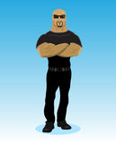 Bearded BodyGuard. BodyGuard illustration with blue background Royalty Free Stock Images