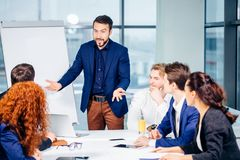 Boss leader coaching in office. On job training. Business and Education concept Royalty Free Stock Photography