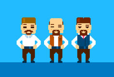 Bearded Business Man Collection Pixelated Vector. Illustration Stock Photography