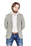 Bearded business man with suspicious emotion. human emotion expr Royalty Free Stock Images