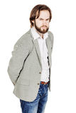 Bearded business man with suspicious emotion. human emotion expr Stock Photography