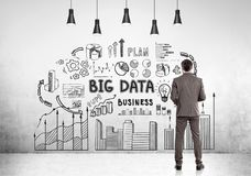 Bearded businessman, big data. Rear view of a young businessman wearing a brown suit and looking at a big data sketch drawn on a concrete wall Royalty Free Stock Photo