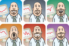 Bearded Businessman with Chart on display in various emotions Royalty Free Stock Photos