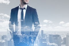 Bearded businessman and a city Royalty Free Stock Image