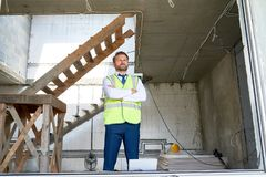 Bearded Businessman at Construction Site stock image