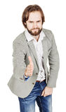 Bearded businessman giving hand for an handshake.  human emotion Royalty Free Stock Photos