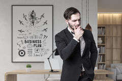 Bearded businessman and rocket poster Royalty Free Stock Images