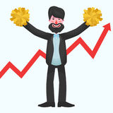 Bearded businessman is standing with yellow pompoms against the backdrop of growing graph. Bearded team leader is happy standing with yellow pompoms on a white Royalty Free Stock Photo