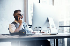 Bearded Businessman Wearing White Shirt Waistcoat Working Modern Loft Startup Desktop.Creative Young Man Using Stock Photo