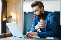 Bearded businessman working on computer at table,drinking coffee.Man analyzes information, data, develops business plan. Young serious bearded businessman Stock Image