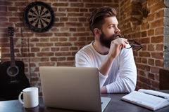 Bearded businessman working Royalty Free Stock Image