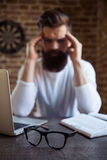 Bearded businessman working Stock Photography