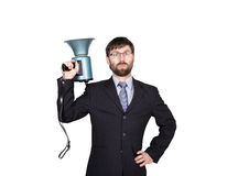 Bearded businessman yelling through bullhorn. Public Relations. man expresses various emotions. photos of young. Businessman wearing a suit and tie.  on white Royalty Free Stock Photography