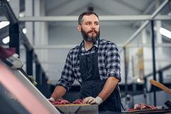 Bearded butcher serving fresh cut meat. stock image