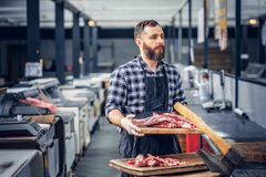 Bearded butcher serving fresh cut meat. stock photo