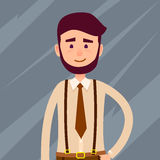 Bearded Cartoon Character Cropped Illustration. Young male cartoon character with beard and small smile in brown tie and trousers with suspenders isolated on Royalty Free Stock Images