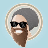 Bearded cartoon man with cap Stock Photography