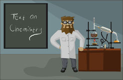 Bearded chemist in the laboratory background Royalty Free Stock Photos