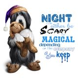 Bearded collie in a night cap with a toy in his paws Royalty Free Stock Image