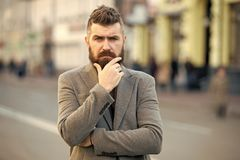 Bearded and cool. Hipster appearance. Stylish beard and mustache fall and winter season. Beard fashion and barber royalty free stock photo