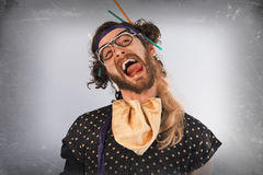 Bearded Crazy Person Lunatic stock images