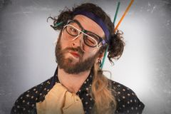 Bearded Crazy Person Lunatic Stock Photography