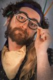 Bearded Crazy Person Lunatic Stock Photos