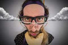 Bearded Crazy Person Lunatic Royalty Free Stock Image